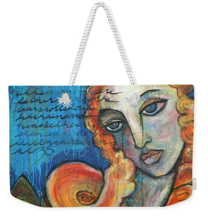 Venus Weekender Tote Bag featuring the painting Venus Lets Go by Laurie Maves ART