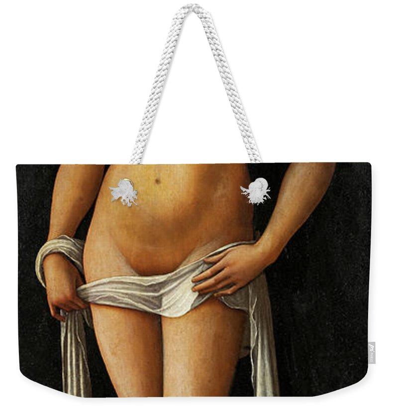 Lorenzo Costa Weekender Tote Bag featuring the painting Venus by Lorenzo Costa