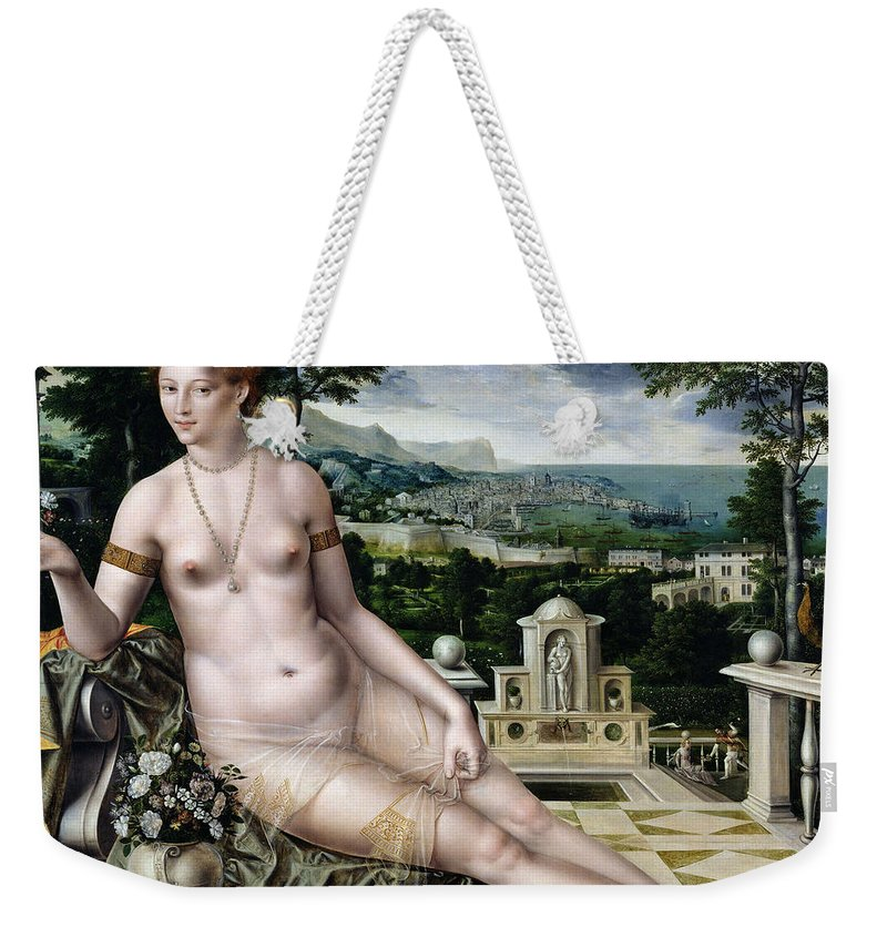 Jan Massys Weekender Tote Bag featuring the painting Venus Of Cythera by Jan Massys