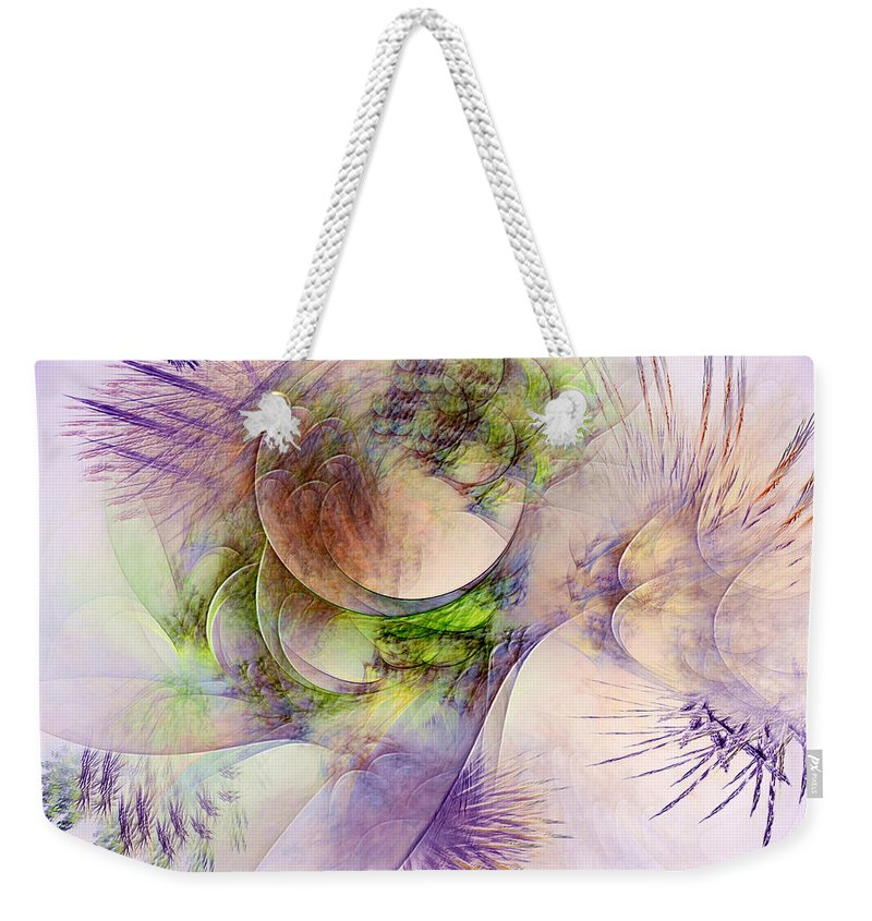Abstract Weekender Tote Bag featuring the digital art Venusian Microcosm by Casey Kotas