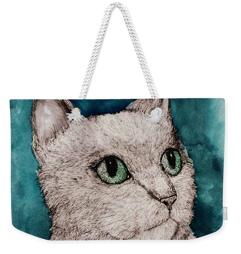Cat Weekender Tote Bag featuring the painting Verde Eyes by Melinda Etzold