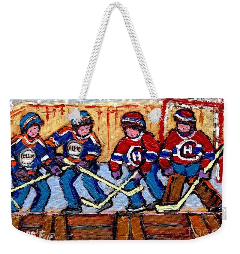 Hockey Weekender Tote Bag featuring the painting Verdun Hockey Rink Paintings Edmonton Oilers Vs Hometown Habs Quebec Hockey Art Carole Spandau    by Carole Spandau