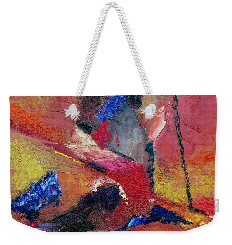 Abstract Weekender Tote Bag featuring the painting Verily Vivacious by Ruth Palmer