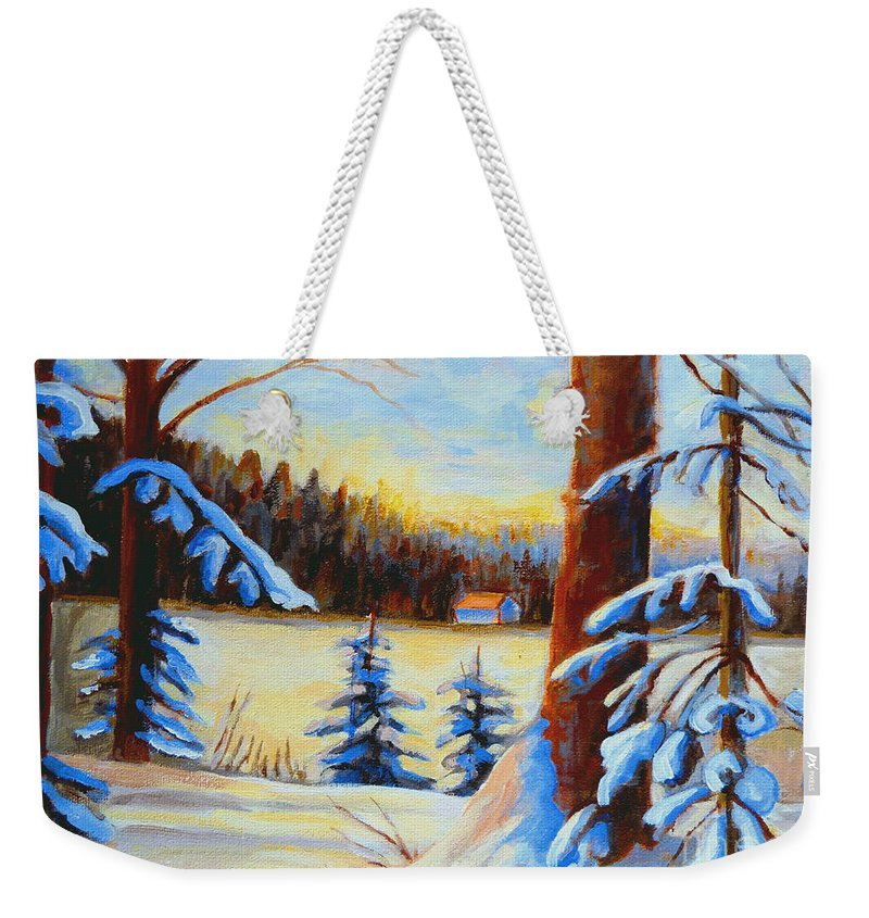 Vermont Weekender Tote Bag featuring the painting Vermont Log Cabin Maple Syrup Time by Carole Spandau