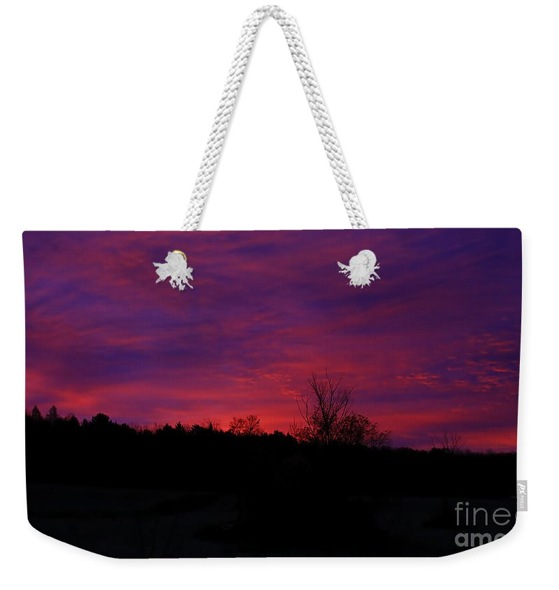 Sunrise Weekender Tote Bag featuring the photograph Vermont Morning Sunrise by Deborah Benoit