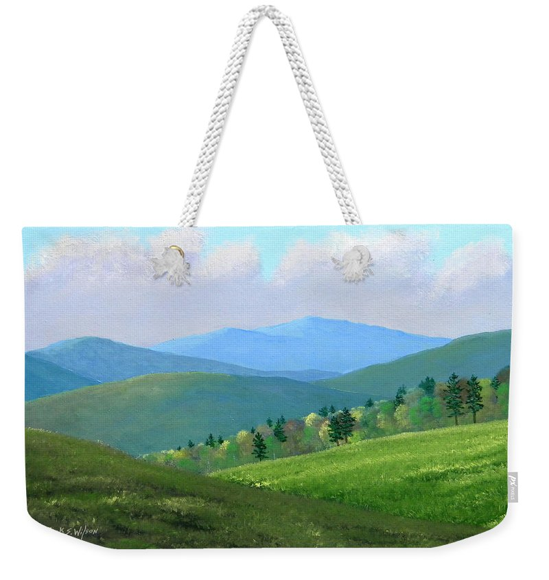 Spring Weekender Tote Bag featuring the painting Vermont Pastures by Frank Wilson