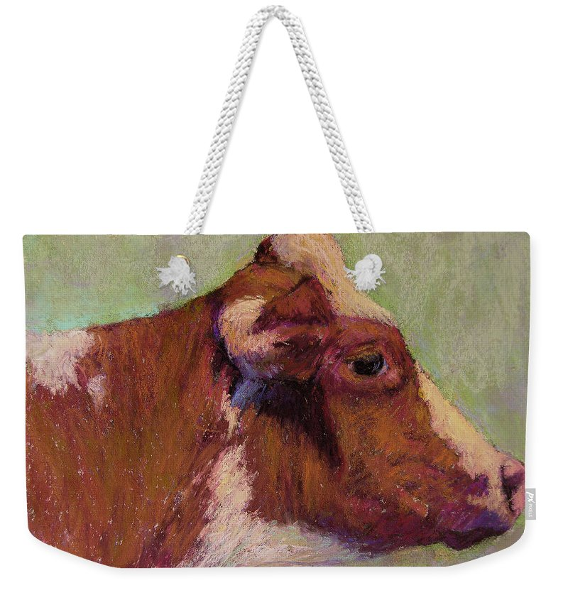 Farm Animals Weekender Tote Bag featuring the painting Vermont Red And White by Susan Williamson