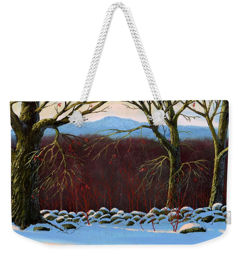 Landscape Weekender Tote Bag featuring the painting Vermont Stone Wall by Frank Wilson