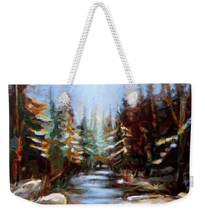 Vermont Weekender Tote Bag featuring the painting Vermont Stream by Carole Spandau