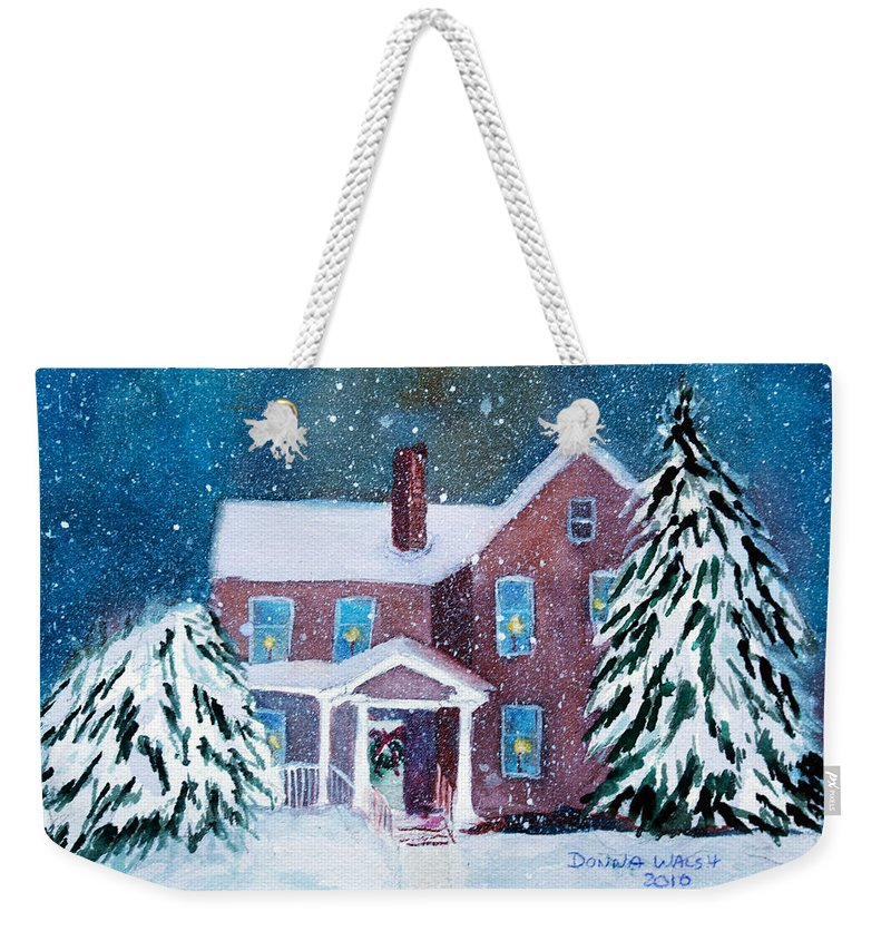 Winter Weekender Tote Bag featuring the painting Vermont Studio Center In Winter by Donna Walsh