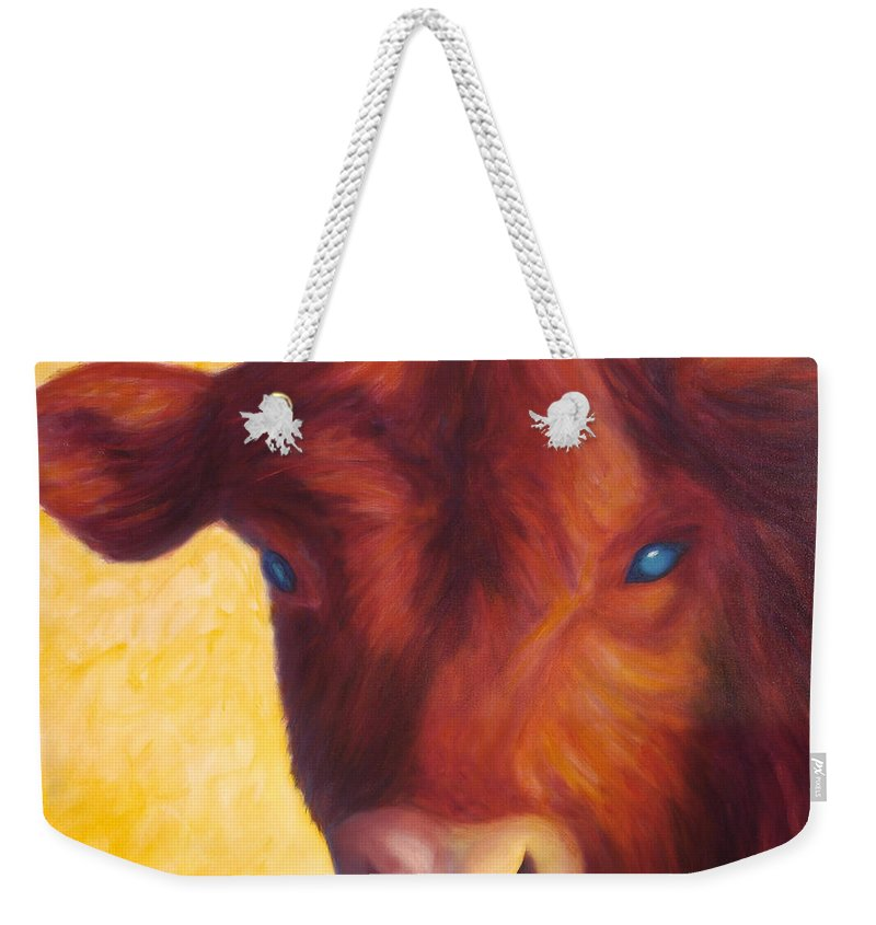 Bull Weekender Tote Bag featuring the painting Vern by Shannon Grissom