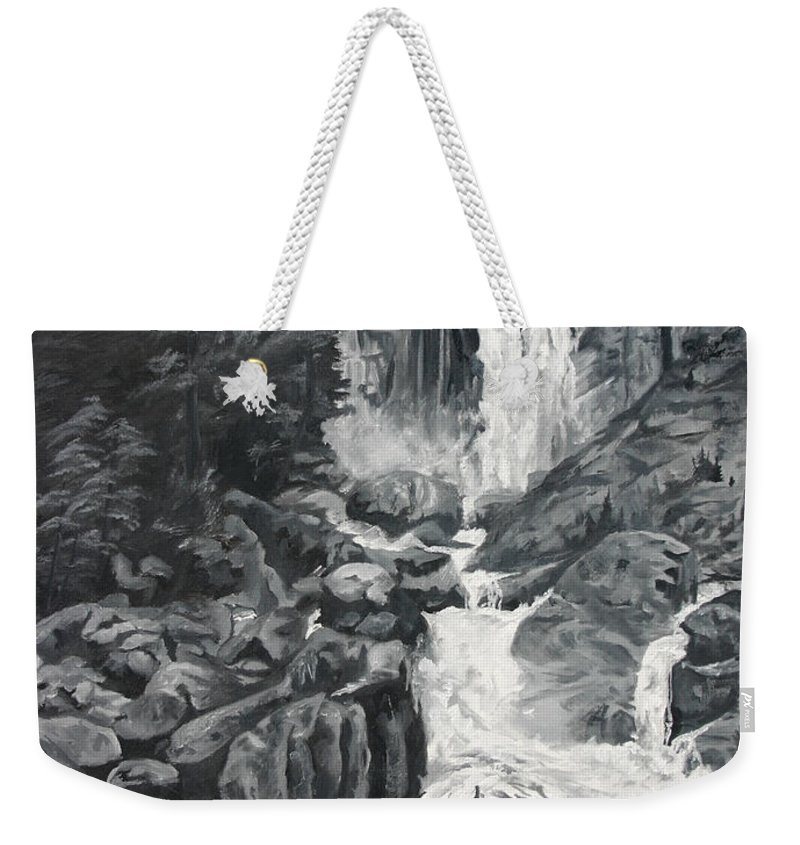 Landscape Weekender Tote Bag featuring the painting Vernal Falls Black And White by Travis Day