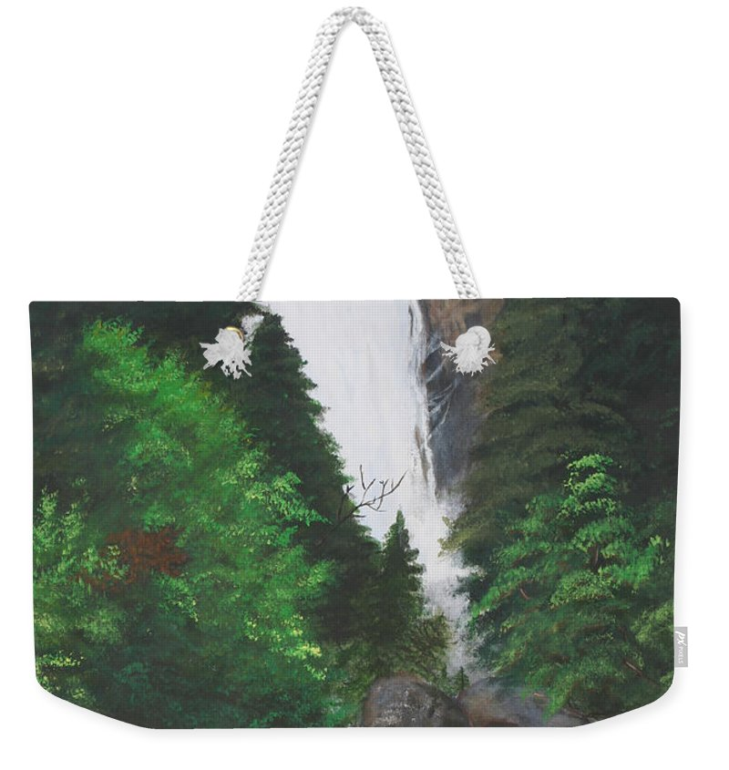Landscape Weekender Tote Bag featuring the painting Vernal Falls by Travis Day