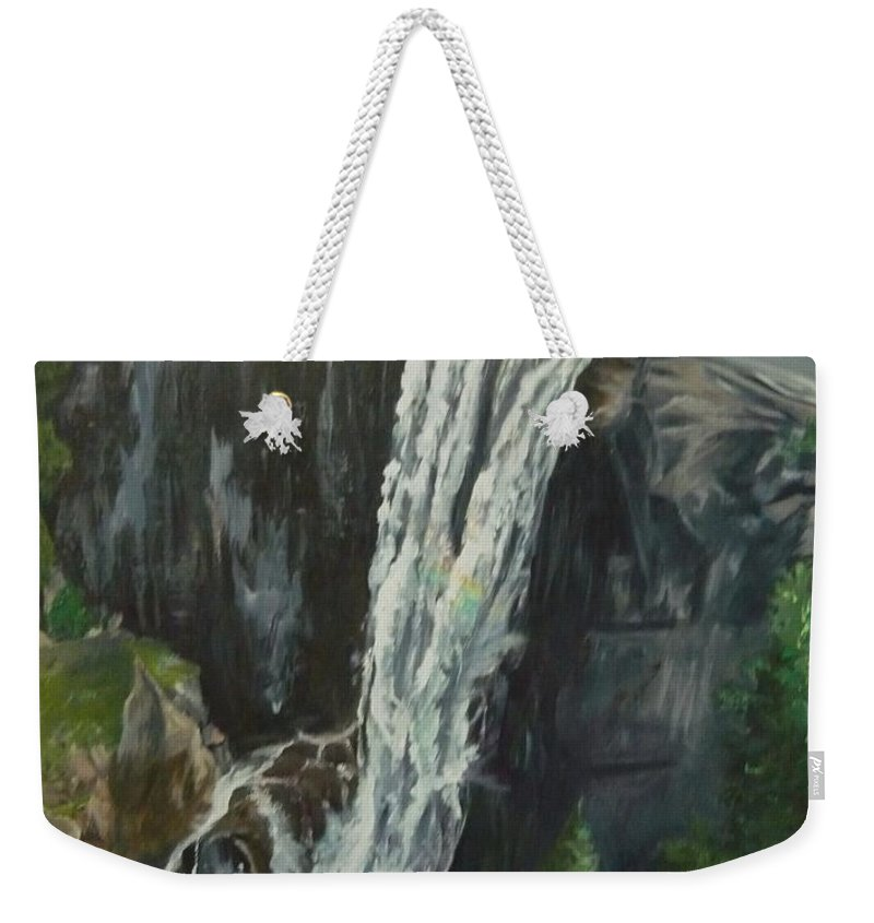 Vernal Falls Weekender Tote Bag featuring the painting Vernal by Travis Day