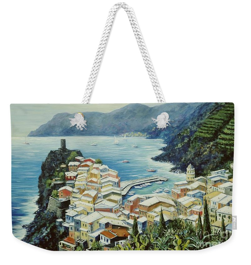 Vernazza Weekender Tote Bag featuring the painting Vernazza Cinque Terre Italy by Marilyn Dunlap
