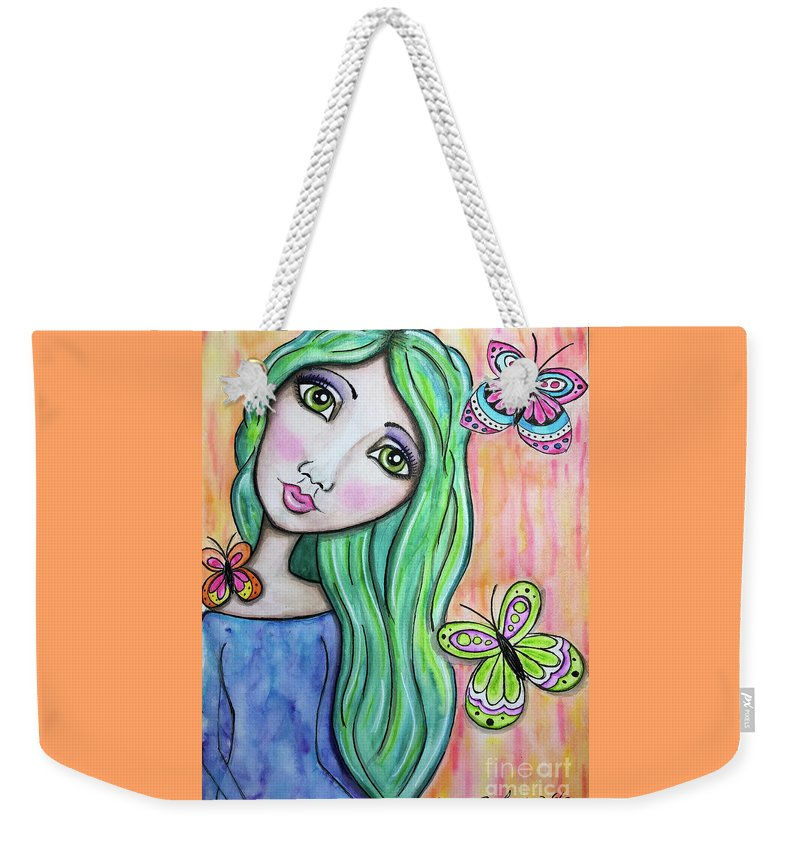 Whimsical Character Weekender Tote Bag featuring the painting Hazel by Nadine Larder