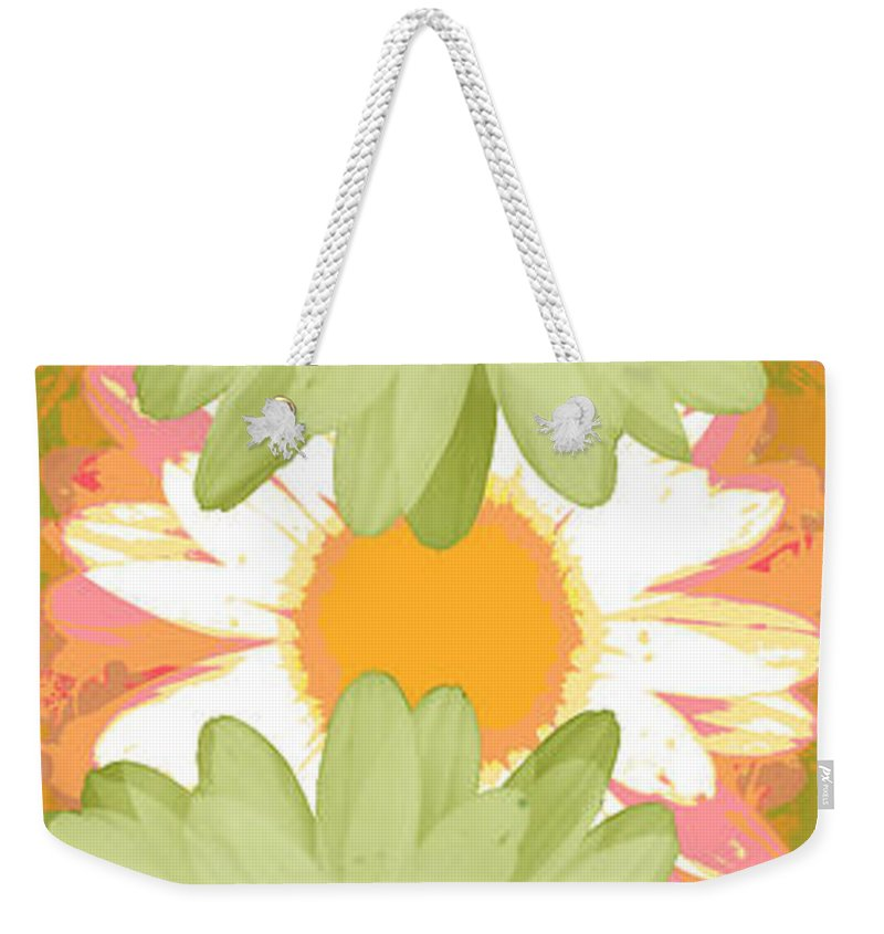 ruth Palmer Art Weekender Tote Bag featuring the digital art Vertical Daisy Collage II by Ruth Palmer