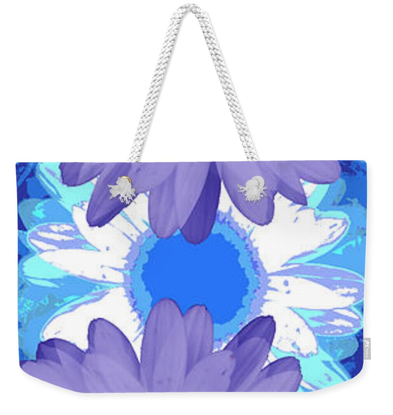 ruth Palmer Art Weekender Tote Bag featuring the digital art Vertical Daisy Collage by Ruth Palmer
