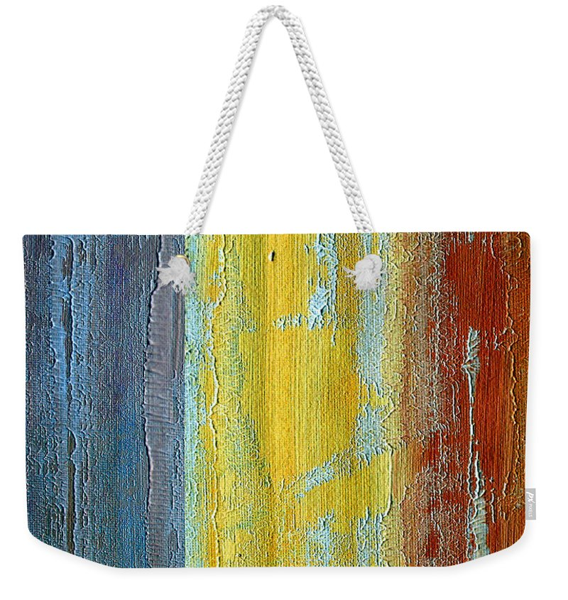 ruth Palmer Weekender Tote Bag featuring the painting Vertical Interfusion II by Ruth Palmer