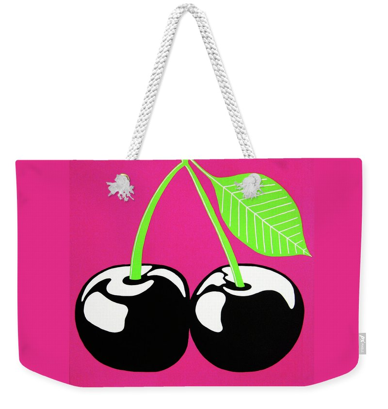 Very Cherry Weekender Tote Bag featuring the painting Very Cherry by Oliver Johnston