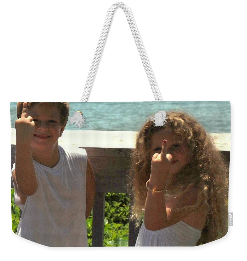 Kids Weekender Tote Bag featuring the photograph Very Naughty Angels by Rob Hans