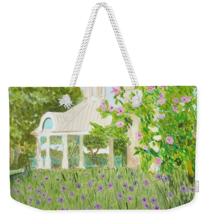 Park Weekender Tote Bag featuring the painting Veteran's Park by Donna Walsh