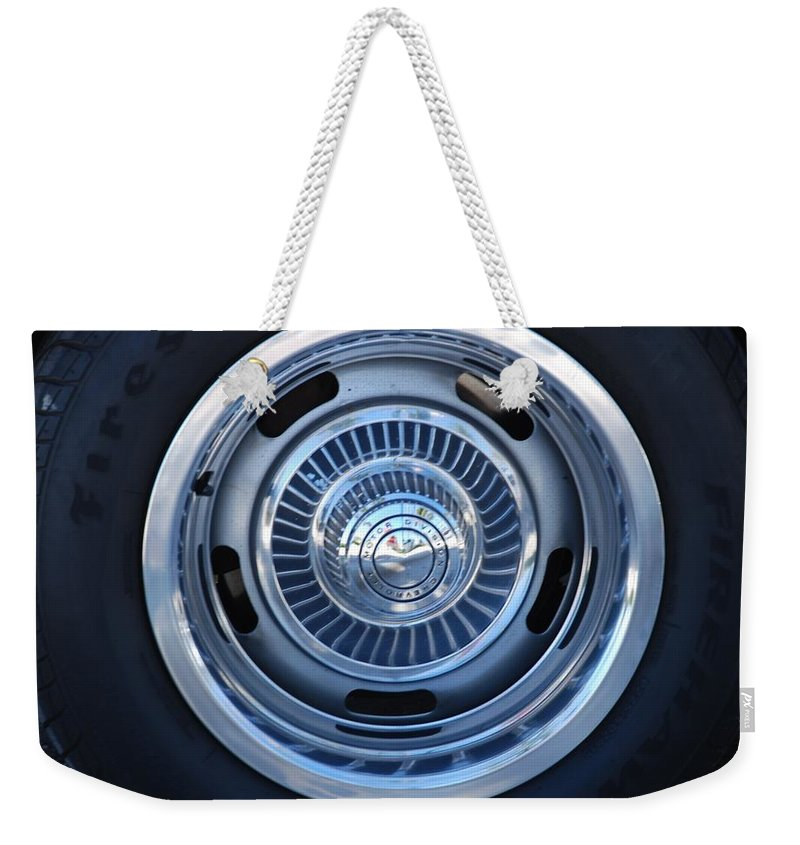 Corvette Weekender Tote Bag featuring the photograph Vette Wheel by Rob Hans