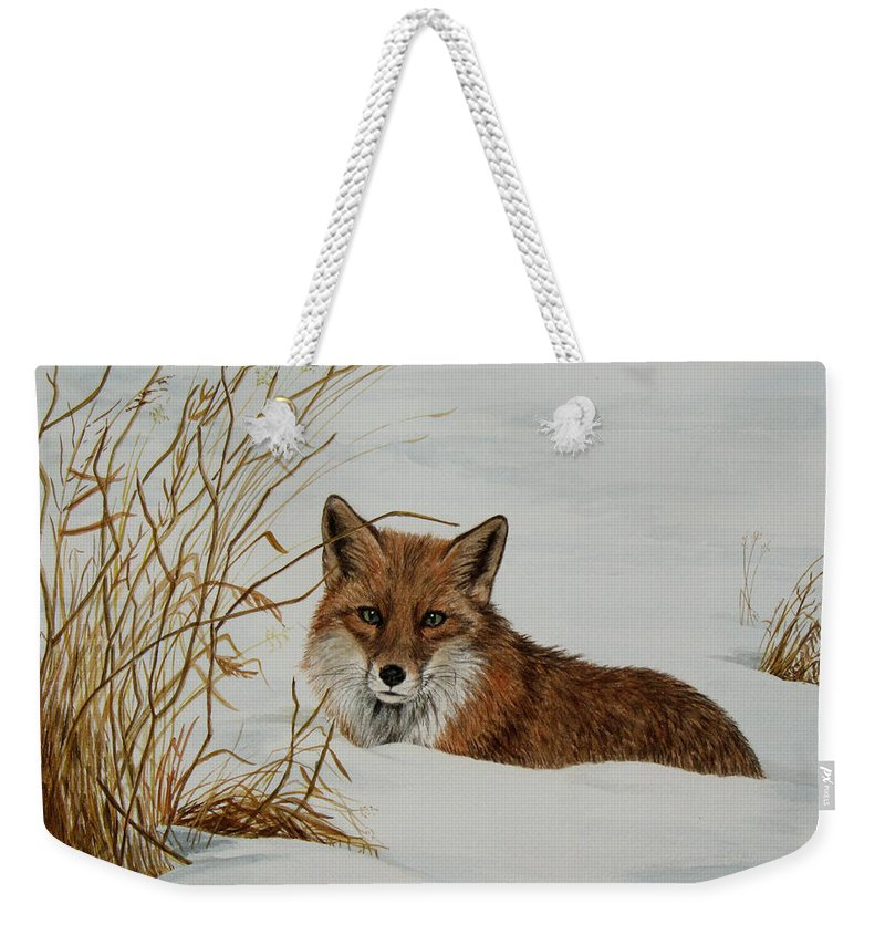 Wildlife Weekender Tote Bag featuring the painting Vexed Vixen - Red Fox by Elaine Booth-Kallweit
