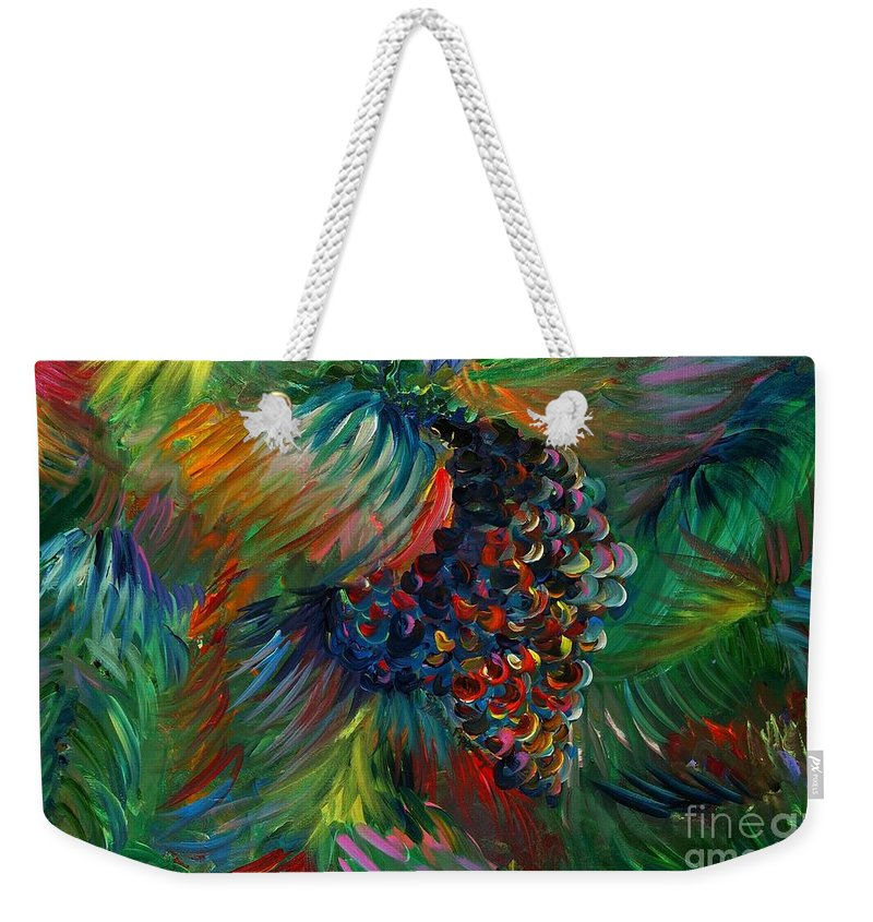 Grapes Weekender Tote Bag featuring the painting Vibrant Grapes by Nadine Rippelmeyer