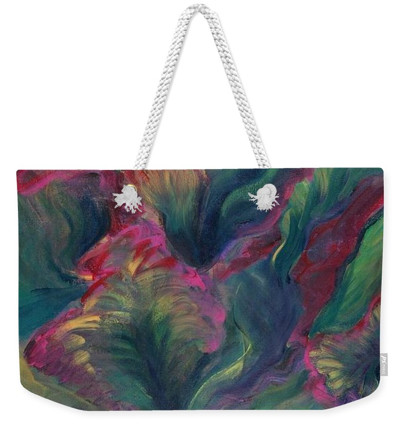 Leaves Weekender Tote Bag featuring the painting Vibrant Leaves by Nadine Rippelmeyer