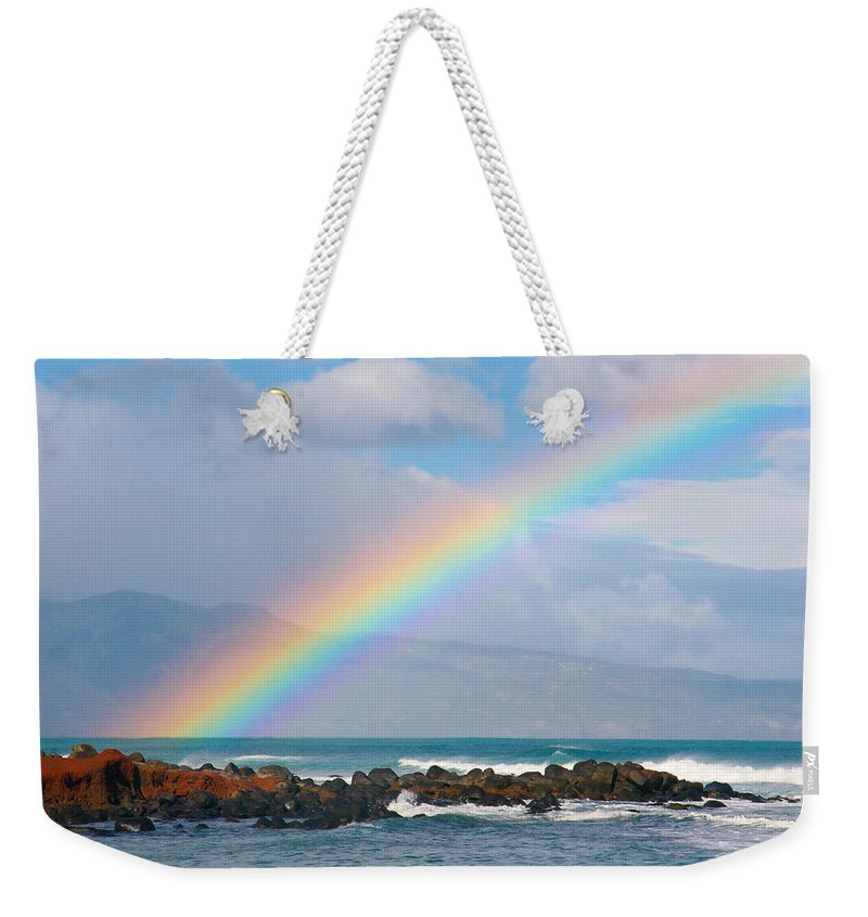 Rainbow Weekender Tote Bag featuring the photograph Vibrant Maui Rainbow by Angelina Hills