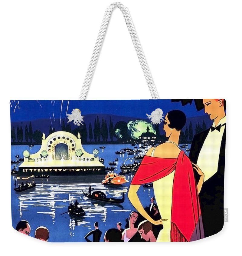 Vichy Weekender Tote Bag featuring the painting Vichy, Firework At Celebration Night by Long Shot