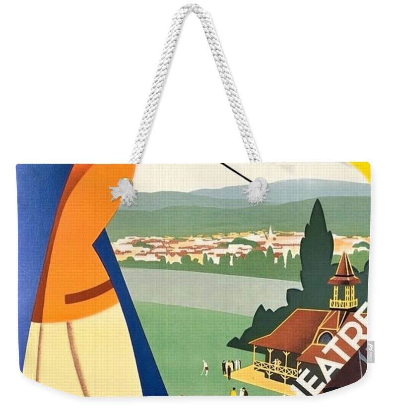 Vichy Weekender Tote Bag featuring the painting Vichy, Sport Tourism, Woman Play Golf by Long Shot