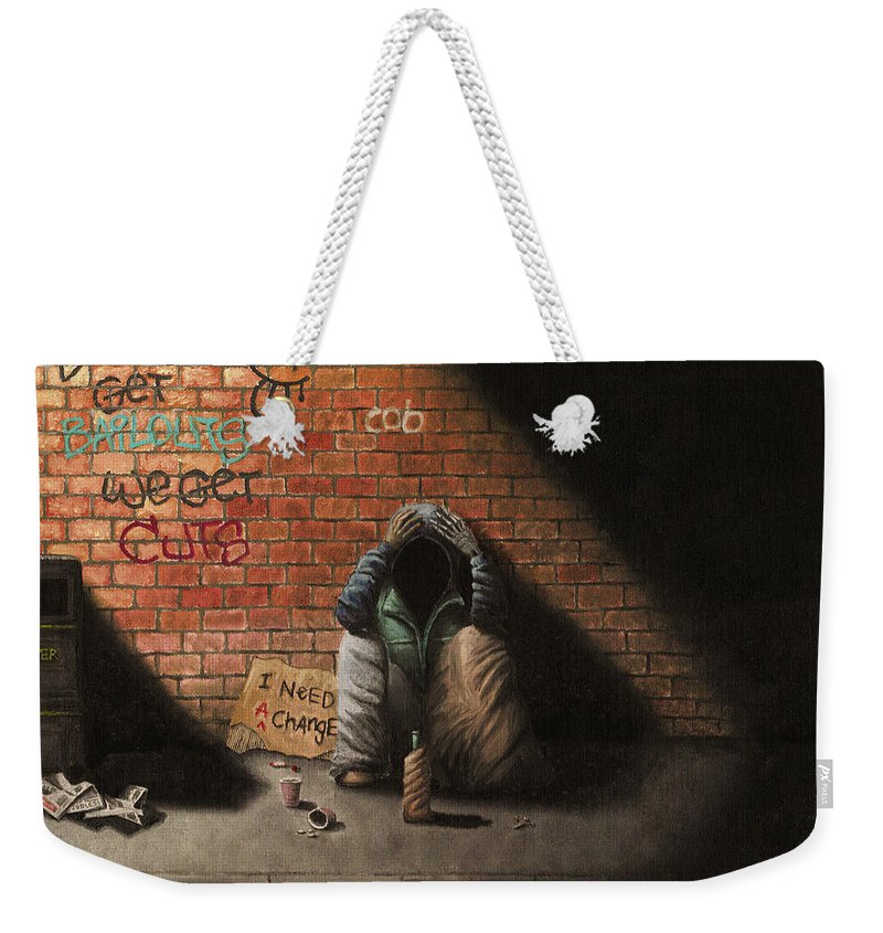 Man Weekender Tote Bag featuring the painting Victim Of Circumstance by Conor O'Brien