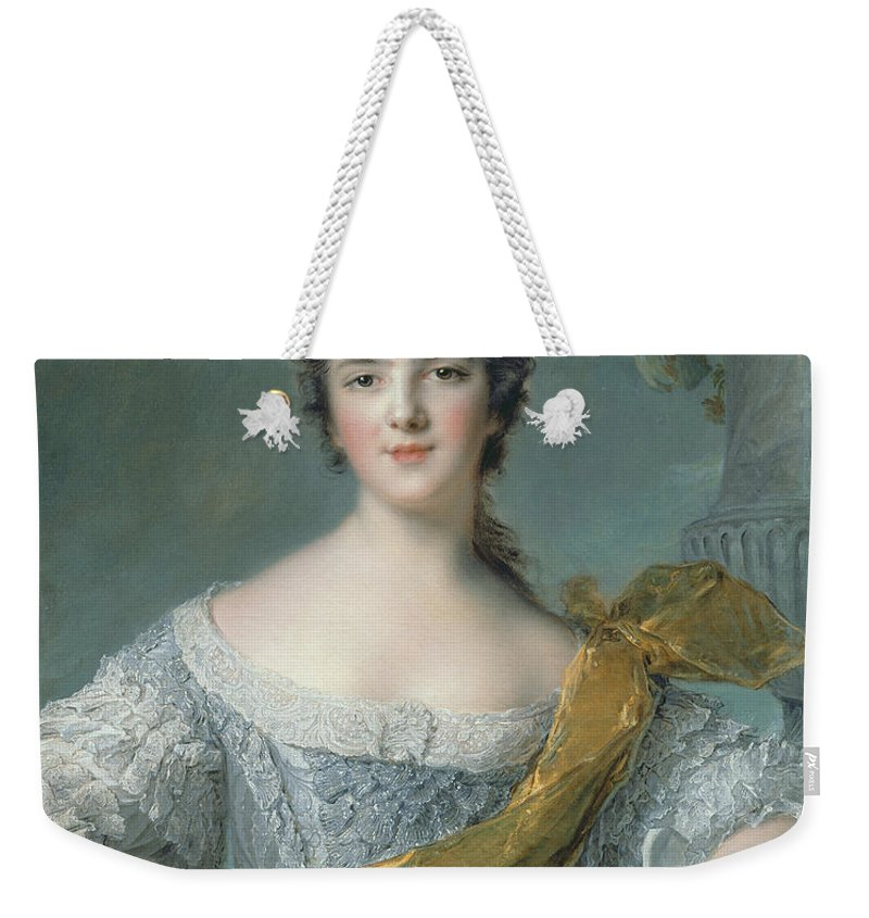Victoire Weekender Tote Bag featuring the painting Victoire De France At Fontevrault by Jean Marc Nattier