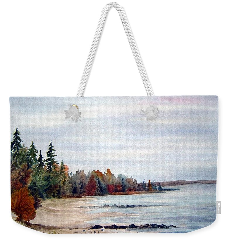 Victoria Beach Manitoba Shoreline Weekender Tote Bag featuring the painting Victoria Beach In Manitoba by Joanne Smoley