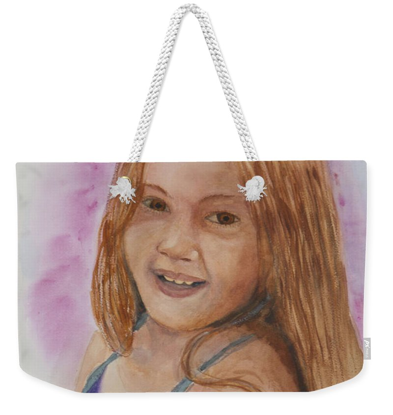 Girl. Portrait Weekender Tote Bag featuring the painting Victoria by Donna Walsh