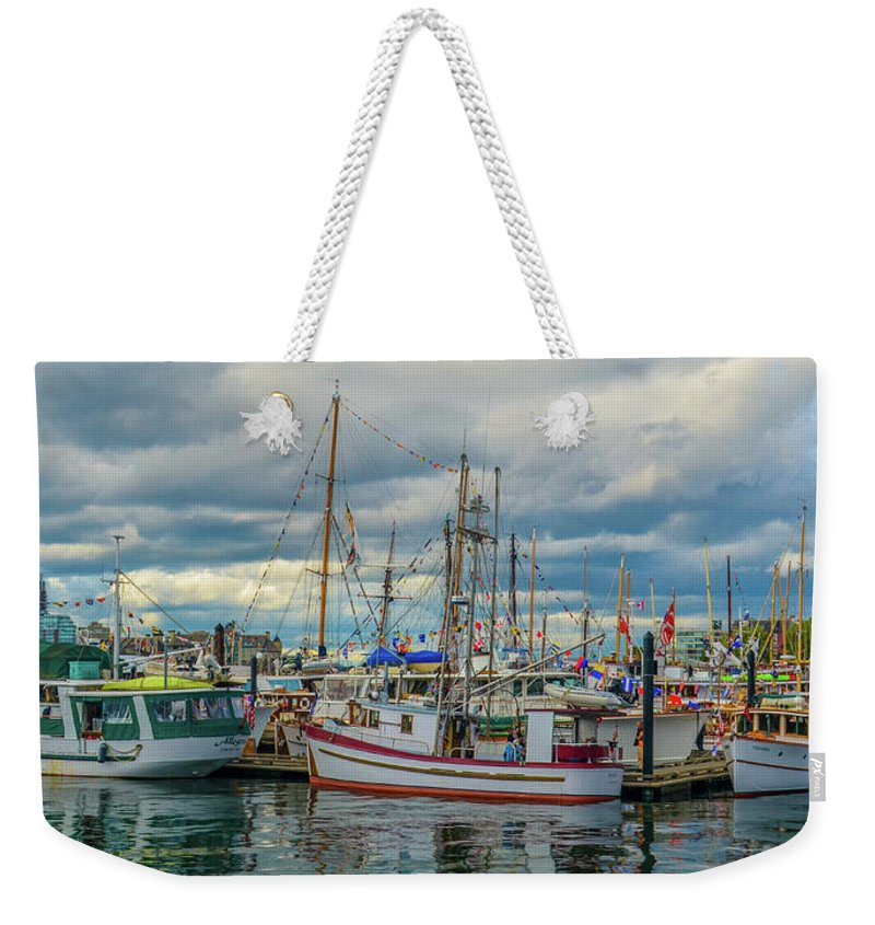 Boats Weekender Tote Bag featuring the photograph Victoria Harbor boats by Jason Brooks