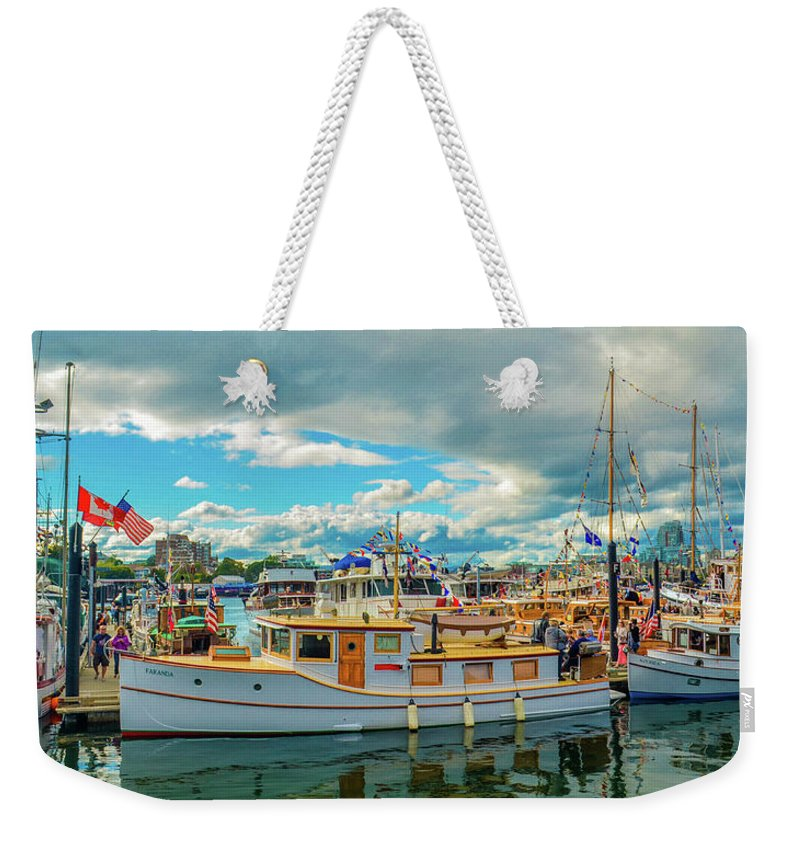 Boats Weekender Tote Bag featuring the photograph Victoria Harbor old boats by Jason Brooks