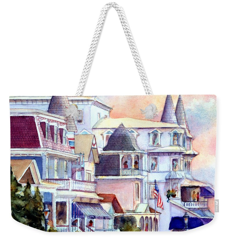 Cape May Weekender Tote Bag featuring the painting Victorian Cape May New Jersey by Pamela Parsons