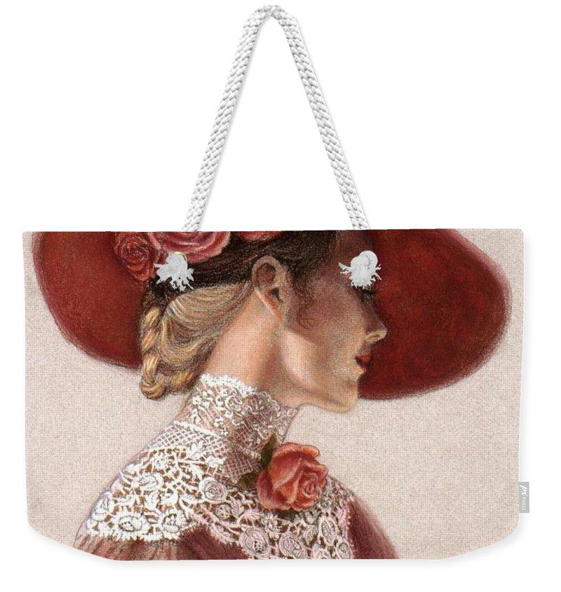 Lady In Red Weekender Tote Bags