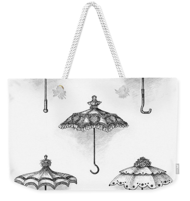 Black Weekender Tote Bag featuring the drawing Victorian Parasols by Adam Zebediah Joseph