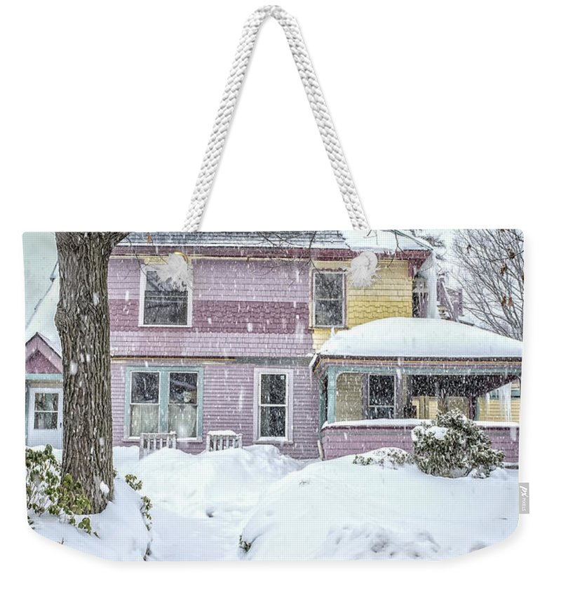 Snow Weekender Tote Bag featuring the photograph Victorian Snowstorm by Edward Fielding