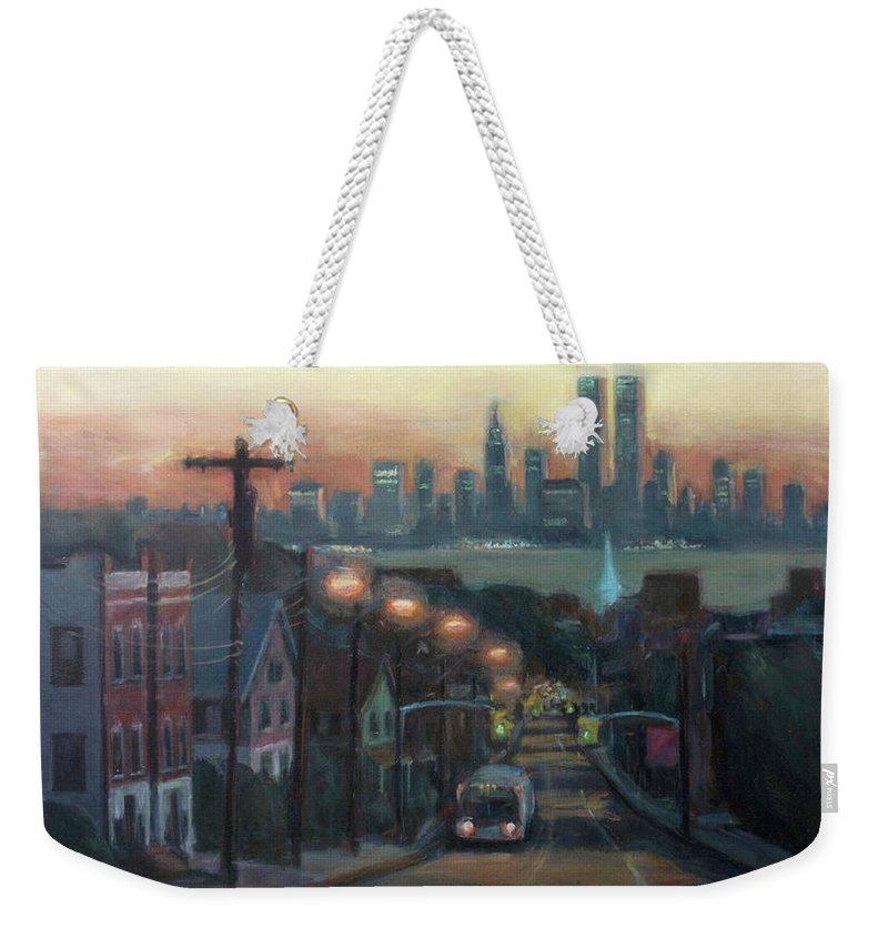 Manhattan Island Weekender Tote Bags