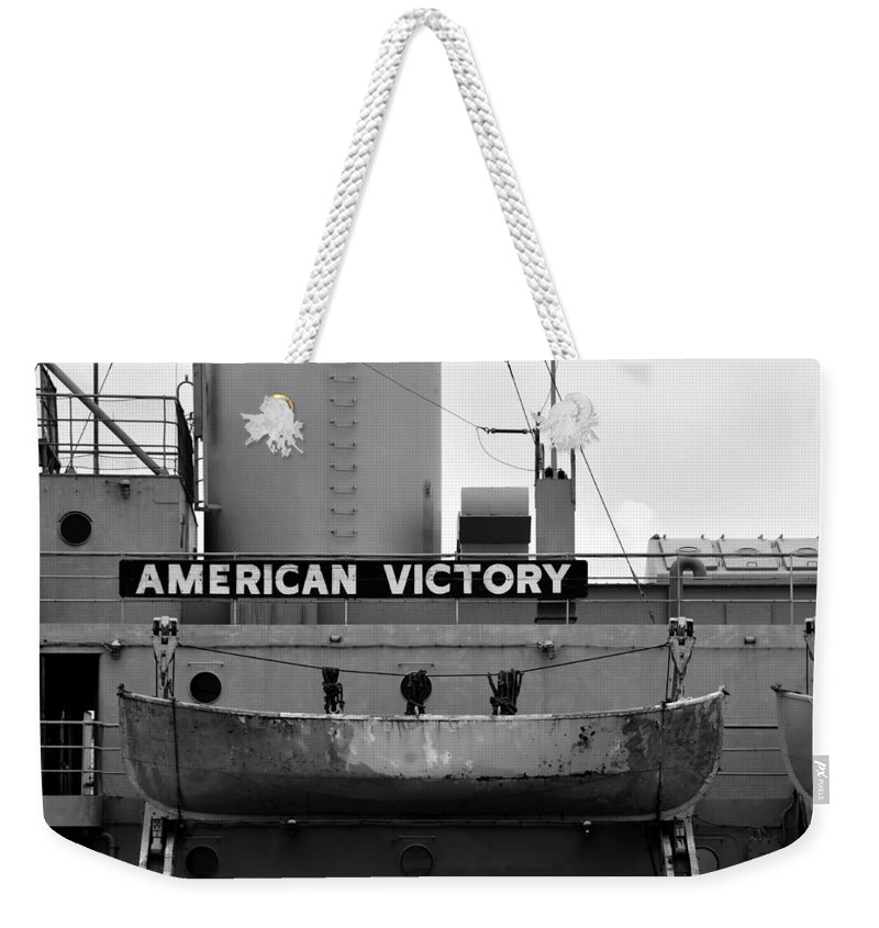 American Victory Ship Weekender Tote Bag featuring the photograph Victory Ship by David Lee Thompson