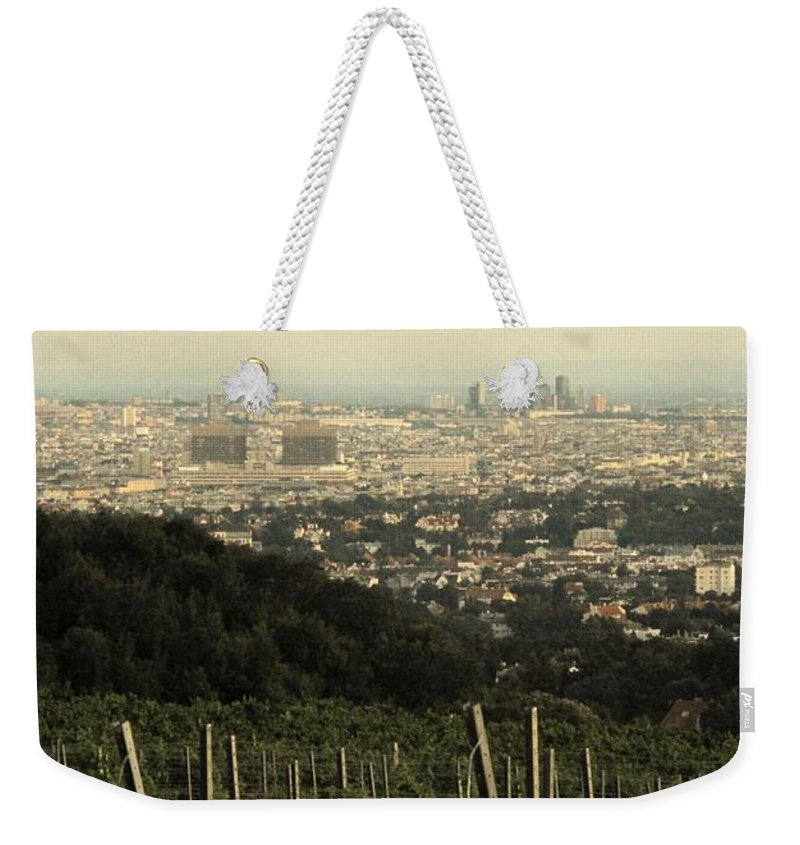 Vineyard Weekender Tote Bag featuring the photograph Vienna From The Vineyard by Ian MacDonald