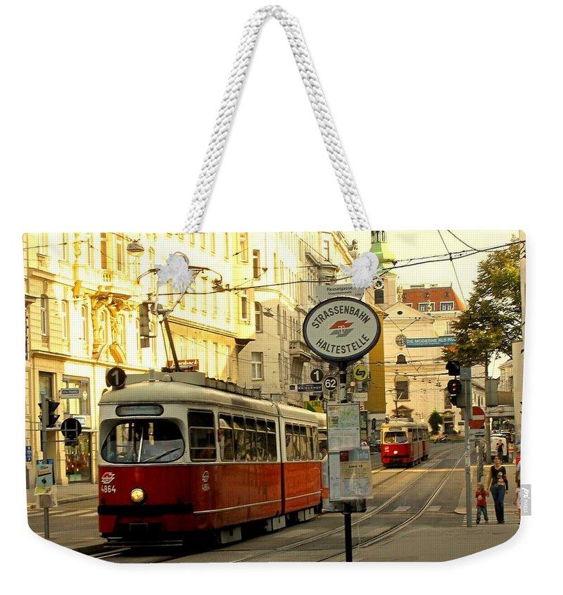 Streetcar Weekender Tote Bag featuring the photograph Vienna Streetcar by Ian MacDonald