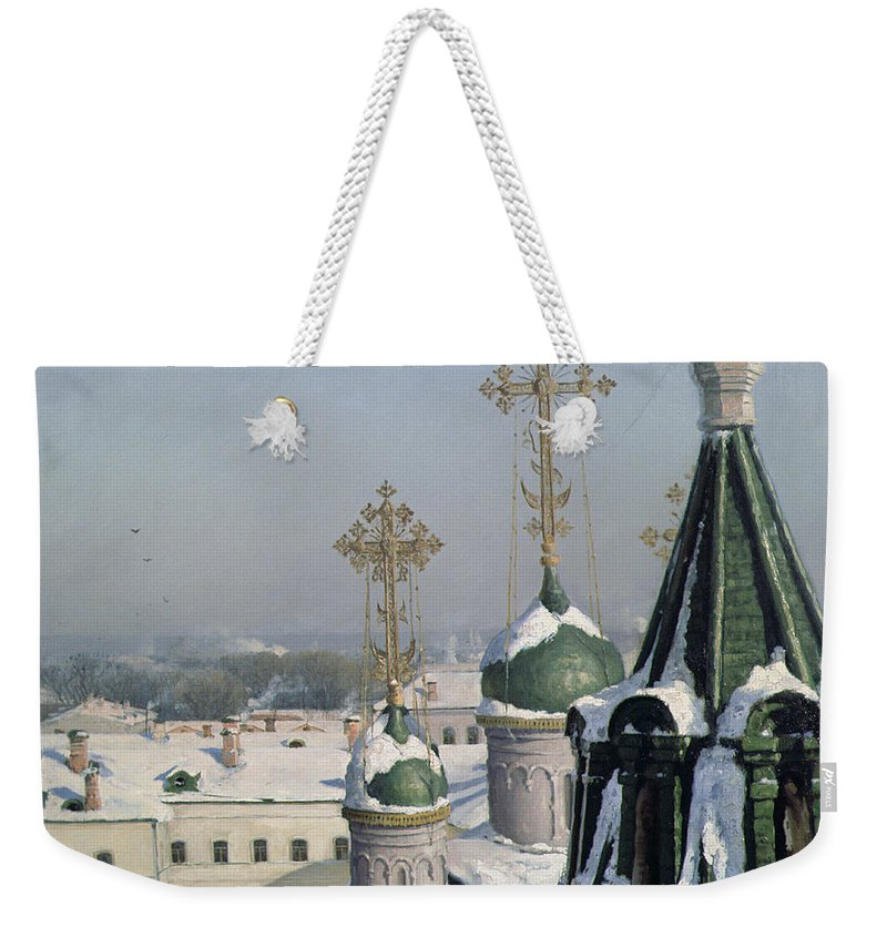 View Weekender Tote Bag featuring the painting View From A Window Of The Moscow School Of Painting by Sergei Ivanovich Svetoslavsky
