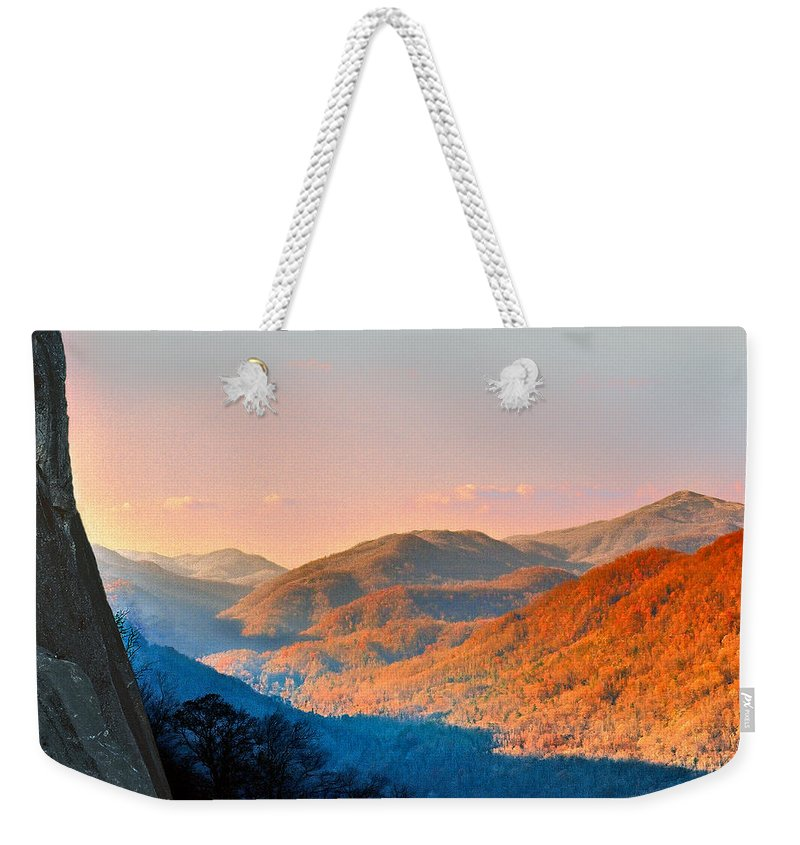 Landscape Weekender Tote Bag featuring the photograph View From Chimney Rock-north Carolina by Steve Karol