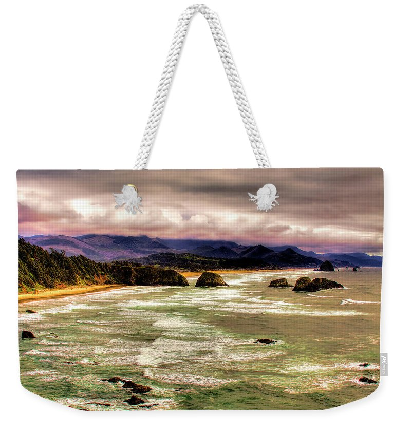 Cannon Beach Weekender Tote Bag featuring the photograph View From Ecola II by David Patterson